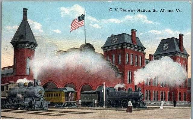 St. Albans station 1920 postcard