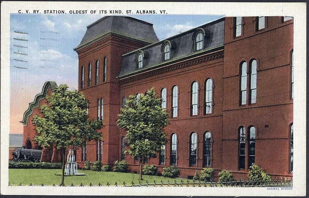 St. Albans station white border postcard