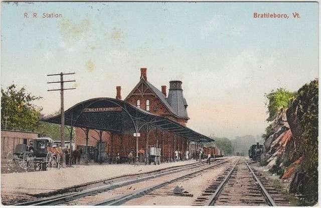Brattleboro station 1908 postcard