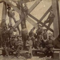 Work Crew Posing On The Canadian Pacific Railway High Level Bridge