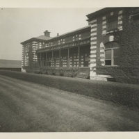 Exterior of Ellis Island building, showing ivy-covered wall,...