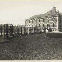 View of garden with trellises adjoining Ellis Island buildin...