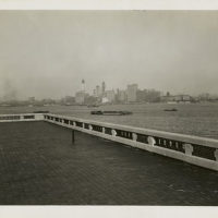 View of the New York skyline from the observation roof atop ...