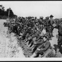 American troops in France resting by the roadside