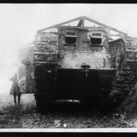 Front view of a tank coming out of action