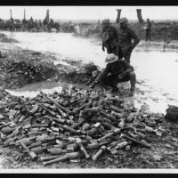 Great proof that the Boche did not expect to be pushed back is that there are several heaps of ammunition and bombs of all descriptions lying about