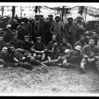 Group of German prisoners with the regimental pet that was captured at Poelcapple