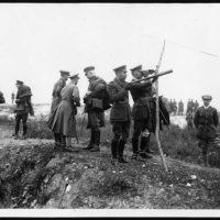 King watching the Battle of Pozieres from captured German trenches