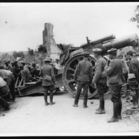 Moving heavy howitzer into a new position during the advance