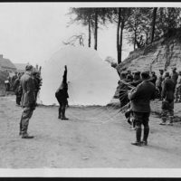 Observers are highly trained men & when their balloons are shelled or attacked by enemy aircraft they are forced to make rapid descents in parachutes