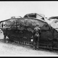 Painting camouflage on a Tank