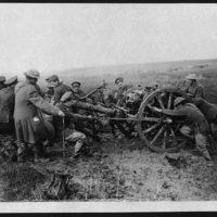 Setting a field gun into position