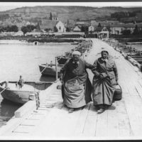 Two poor old French refugees crossing the Marne
