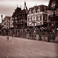 French greyhound racing, 1920s, at Trouville-sur-Mer.  1 of 2 (animated)