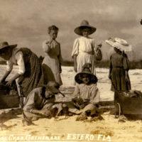 Koreshans girls gathering horseshoe crabs on Estero Island, Florida