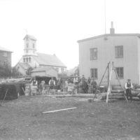 Veiðarfæragerð við Gúttó í Vonarstræti, um 1915