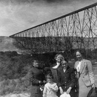 Unidentified Group Posing Near The Canadian Pacific Railway High Level Bridge