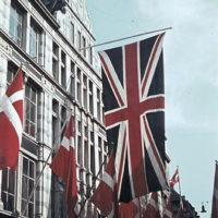Strøget (the pedestrian street) in Copenhagen, decorated with flags. Photo: Jørgen Nielsen