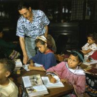 William Boehmer teaching Seminole children at the government school: Brighton Reservation, Florida
