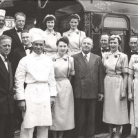 Royal Visit 1954 - train staff