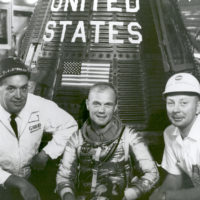 John Glenn With T.J. O'Malley and Paul Donnelly in Front of Friendship 7