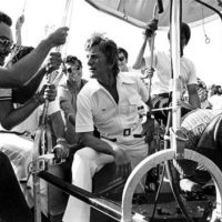 Actor Kirk Douglas, center, in a hot air balloon: Fort Lauderdale, Florida
