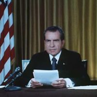 PRES. NIXON DEFENDS HIS OFFICE ON WATERGATE CHARGES
