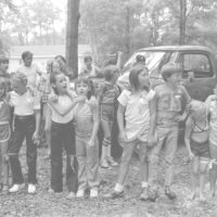 Children getting ready for a three-legged race on July 4th: White Springs, Florida