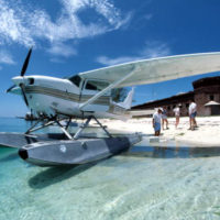 Seaplane on the beach at Fort Jefferson: Garden Key, Dry Tortugas, Florida