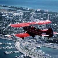 Freddy Cabanas in his Waco bi-plane over Key West