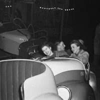 """[A split second high speed flash picture at the Oswestry Fun Fair of the """"Whirling Whip"""", 1948]"""