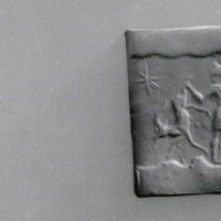 Cylinder seal and modern impression: hero grasping two antelopes by their hind legs