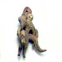 Small Male Figure Supporting Larger Fertility Goddess on His Back