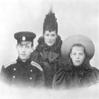 Dowager Empress Maria Feodorovna (Dagmar) with children, Grand Duke Michael Alexandrovich and Grand Duchess Olga Alexandrovna.